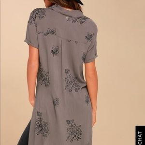 THORA GREY FLORAL PRINT BUTTON-UP MAXI TOP